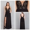 Lace Mix Deep V-Neck Evening Gown by Ark & Co.