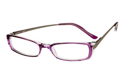 The Lightening features groovy rectangular lenses with a funky purple frame, nose bridge and ear stem