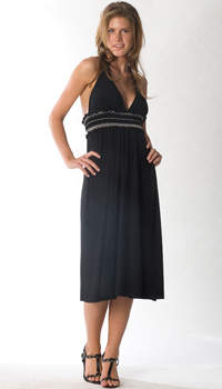 halter dress with contrast smocking
