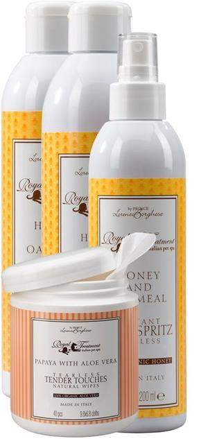 Natural Honey Oat Shampoo, Conditioner and Spritz and Papaya wipes