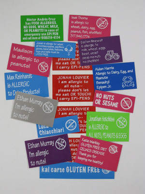 Keep your child protected in the sumer fun...Allergy Labels