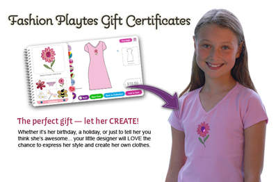 FashionPlaytes Gift Cards Let Little Girls be Fashion Designers