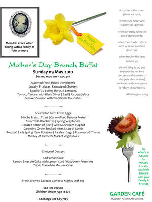 Mother's Day Special Brunch Buffet at the Garden Cafe