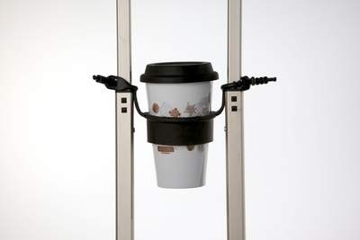 The tugo suspends your coffee or other beverage between the upright handles of your rolling luggage.