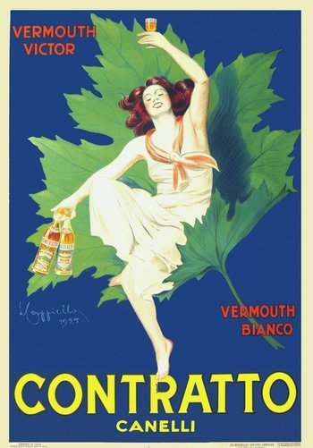 Contratto Vermouth by famed poster artist, Leonetto Cappiello. Available from IVPDA member Vintage European Posters.